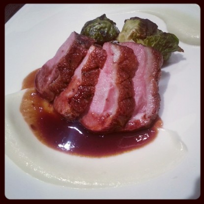 Duck au Cassis Cauliflower Puree & Roasted Brussels Sprouts