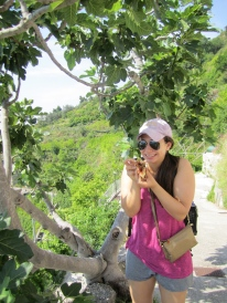 Me picking figs off trees in front of our hotel